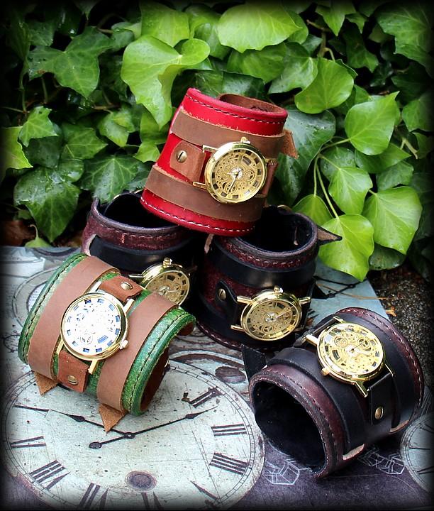 montre bracelet cuir épais