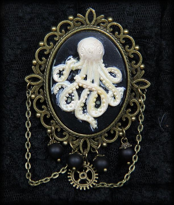 broche Camée Octopus