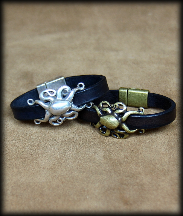 bracelet cuir octopus