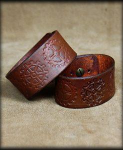 bracelet cuir engrenages
