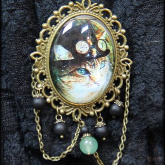 broche cabochon chat