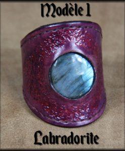 bracelet cuir & pierre